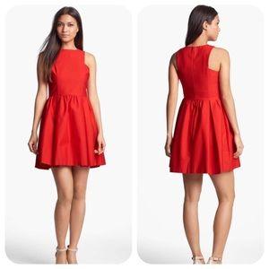 BB Dakota Red Anissa Cotton Fit Flare Dress 6